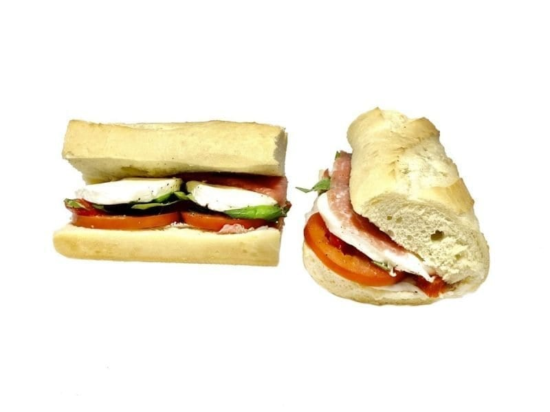 Pictured is our Tuscan Sandwich. It consists of Prosciutto, Fresh Mozzarella, Roasted Red Peppers, Tomato, & Basil drizzled with Olice Oil.