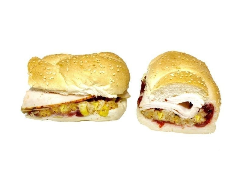 Pictured is our Pilgrim sandwich. It consists of Oven Gold Turkey, Homemade Stuffing, & Cranberry Sauce on a Braided Roll.