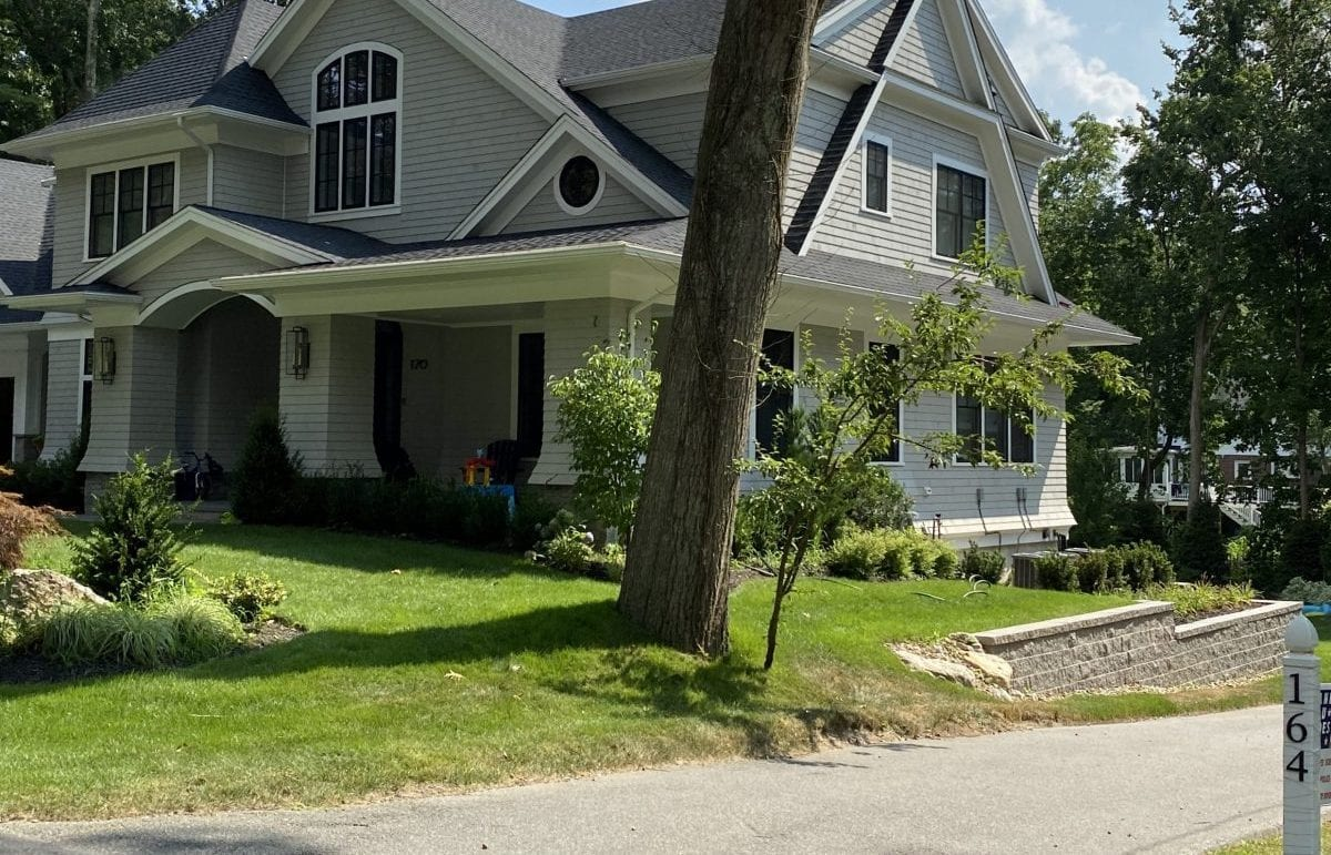 This picture displays the front yard of a recent landscape design project we completed.