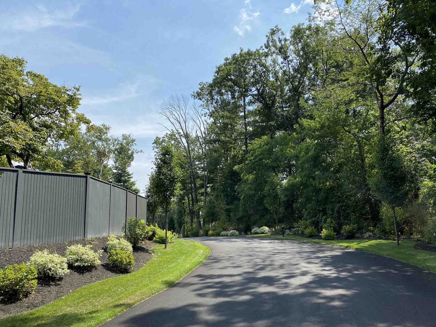 This picture displays a residential road that we recently completed landscape design work on. There is green grass, trees and shrubs lining the road.