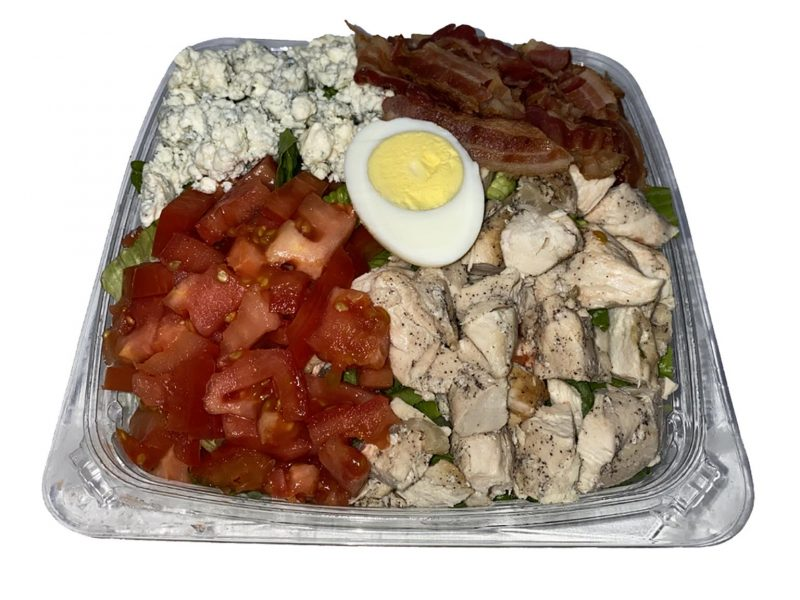 This picture shows our Cobb salad on a white background.
