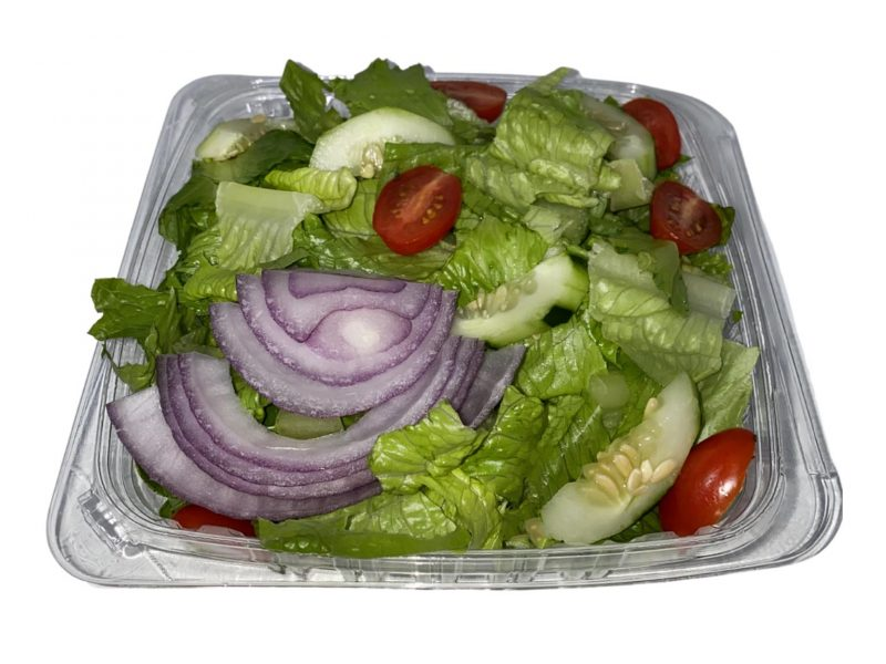 This picture shows our garden salad on a white background.