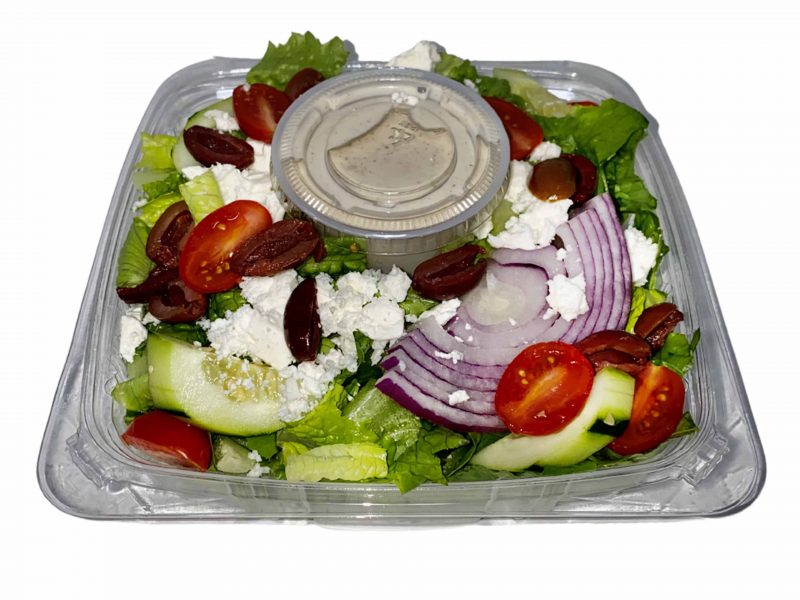 Greek salad in grab and go container.
