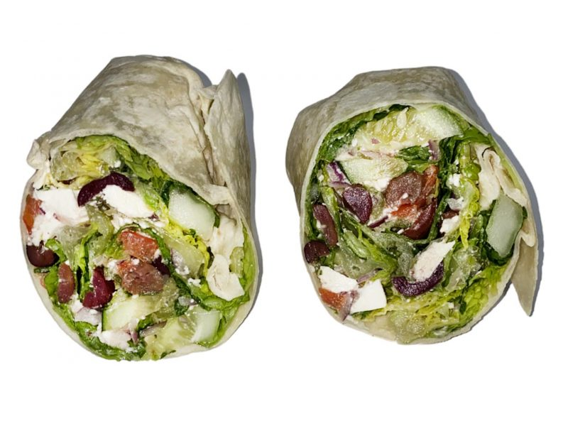 This picture shows our greek wrap in front of a white background.